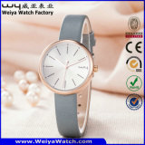 Montre-bracelet occasionnelle de mode de dames de quartz de courroie en cuir d'ODM (Wy-126A)