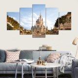 5 mundo moderno do painel HD Disney, pinturas quadro parede da arte da lona da cópia da arte do castelo de Cinderella para o retrato Kn-16 da parede da sala de visitas