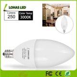 Indicatore luminoso molle della candela di bianco 3000K LED della lampadina di E12 E14 B22 3W LED