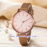 Relógios de forma luxuosos clássicos do OEM da cinta de couro da liga (WY-G17008B)