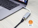 USB Type C aan RJ45 LAN van Ethernet Gibabit de Adapter van de Huisvesting van het Aluminium van de Splitser van het Netwerk voor Laptop van PC