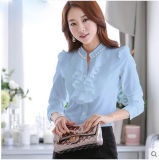 Рубашка вскользь длиннего дела кофточки женщин втулки шифонового шифоновая