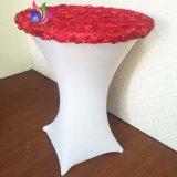 최신 판매 상단 공단 근엽 직물 Strech 스판덱스 테이블 피복 탁자 덮개