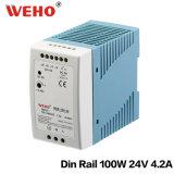 Stromversorgung der Mdr-100-24 AC/DC 100W 24V LÄRM Schienen-SMPS LED mit Cer RoHS