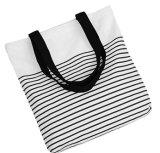 Frauen-Streifen-Segeltuch-Baumwolltote-Einkaufen-Strand-Beutel