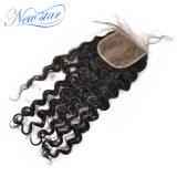 5X5 레이스 마감에 의하여 표백되는 매듭 중국 느슨한 파 인간적인 Virgin 머리