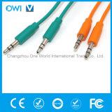 Тонкий зеленый цвет кабеля от 3.5mm до 3.5mm эластичный тональнозвуковой