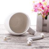 11oz Cerâmica Branca caneca com logotipo impresso chávena de café com uma colher