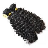 깊은 컬 브라질 머리 직물은 연장 2개 피스 100% 사람의 모발 머리 묶는다