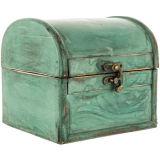 시골풍 파란 트렁크 소나무 전나무 목제 MDF 상자