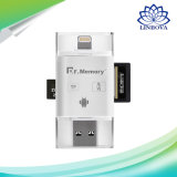 iPhoneのパソコンのアンドロイドのための1人のマイクロSDのカード読取り装置電光USB 2.0 OTG TFのカードのメモリ・カードの読取装置に付きMemory 3人先生
