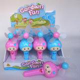Ventilatore del fumetto con i giocattoli della caramella con la caramella