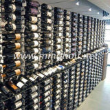 Cremagliera fissata al muro del supporto di bottiglia del vino del metallo nero delle 9 file