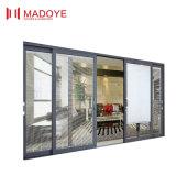 Современный дизайн Деревянные зерна стекла боковой сдвижной двери
