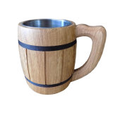 Groef Gesneden Houten het Drinken van de Mok van het Bier Kop met Handvat