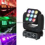 9pcsx 10W RGBW LED 이동하는 맨 위 매트릭스 곁눈 가리개 단계 빛