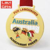 호주 도매 주문 금속 연약한 사기질 금 포상 메달