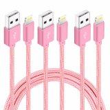 Gewebe-umsponnener Nylonblitz 8pin zum USB-Aufladeeinheits-Kabel für iPhone 7
