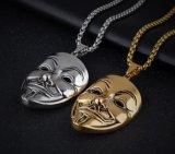 Film V per la collana Pendant Colar del tipo di Hiphop della collana della mascherina dell'argento dell'oro di faida del metallo anonimo della mascherina per i regali di natale degli uomini delle donne