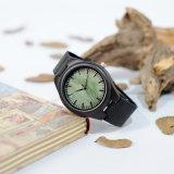 Reloj de madera, bambú y sándalo de los hombres con el movimiento del cuarzo, correa de cuero