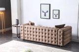 Jeu de sofa de Chesterfield de tissu de sofa de bouton