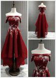 weg von Schulter-Kurzschluss-wulstigem Nettoabend-Kleid