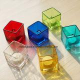 Tea Light chandelier Bougie en verre Cube Jar pour cadeau du Festival