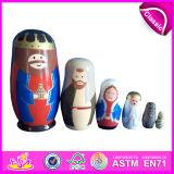 2018 다채로운 러시아 나무로 되는 장난감, Matryoshka 나무로 되는 인형 장난감, 지적이는 아기 나무로 되는 장난감 W06D038