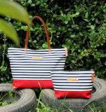 Canvas Zippered Striped dead Bag dead dia. by Bag Leather Straps Nautical Bag