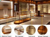 木の壁の立方体の棚または女性店の家具または衣服の記憶装置ラック