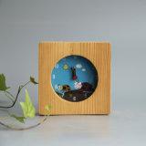スクリーン印刷されたLadyburgの自然なPinewoodの目覚し時計