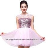 Reizvolle Spitze Appliques StutzenSequins eine Zeile Chiffon- Abschlussball-Kleid