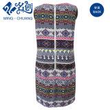 Напечатанное платье карандаша способа женщин с застежкой -молнией металла