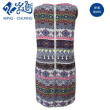 Напечатано женщин моды карандаш платья с металлической молнией