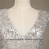 Robe Backless sexy de bal d'étudiants de soirée de V-Collet Chiffon de Sequin de femmes