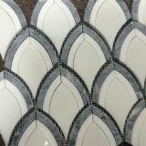 De heet-verkoopt Fishtail Waterjet van het Kristal Witte Marmeren Prijs van de Tegel van het Mozaïek
