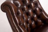 Sofá de cuero de Chesterfield de Brown de la vendimia de calidad superior del color