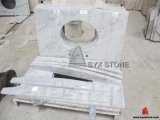 Weißes Carrara Marble Bathroom Vanity Top mit Backsplash