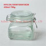 450mlシールのふたが付いている食糧のための正方形の記憶のガラス瓶の小さい正方形のガラス容器