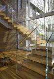 Diseño moderno ultra claro Escalera de vidrio / acero inoxidable recta Escalera de vidrio con superficie de rodadura de madera