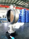 Al CF8/Ss316 Vleugelklep van het Wafeltje van de Voering van het Roestvrij staal EPDM Met Versnellingsbak werkt