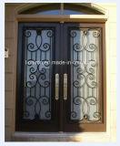 緩和されたガラスおよびトランサムが付いている外部の鋼鉄ドア