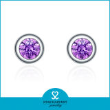Comercio al por mayor de amatista Natural Stud Earrings