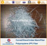Fibra macra curvada añadido de la onda del polipropileno de la fibra de los PP del cemento