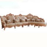 كلاسيكيّة جلد أريكة مع خشبيّة أريكة إطار ([807ب])