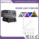 Mini 5*8W Witte LEDs Vijf het Hoofd Lichte Bewegende Hoofd van de Spin