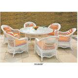 Mobília francesa do estilo do pátio ao ar livre com quatro cadeiras