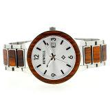 Классическая календарь из нержавеющей стали и дерева кварцевые часы роскоши смотреть на запястье для мужчин