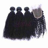 熱い販売の100%の加工されていないバージンのマレーシアの毛のWeftねじれたカール