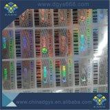 Custom Quanlity alto número de barras pretas Adesivo com holograma